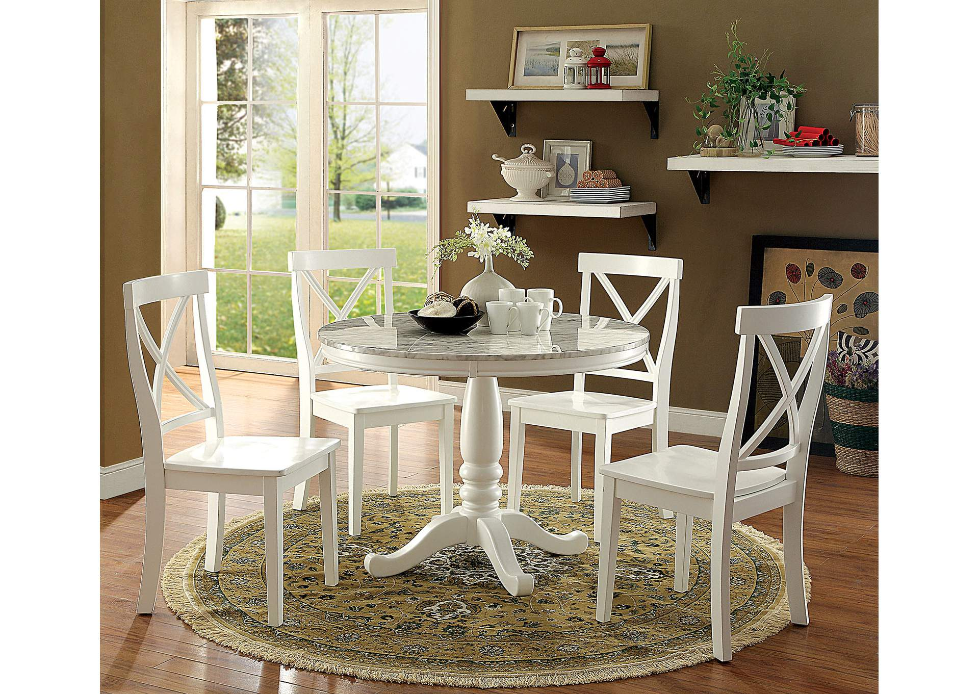 Penelope White Round Faux Marble Table w/4 Side Chairs,Furniture of America