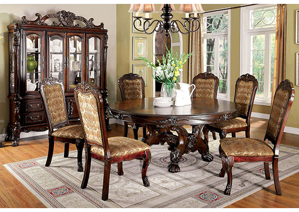 Medieve Cherry Round Dining Table w/6 Side Chairs,Furniture of America