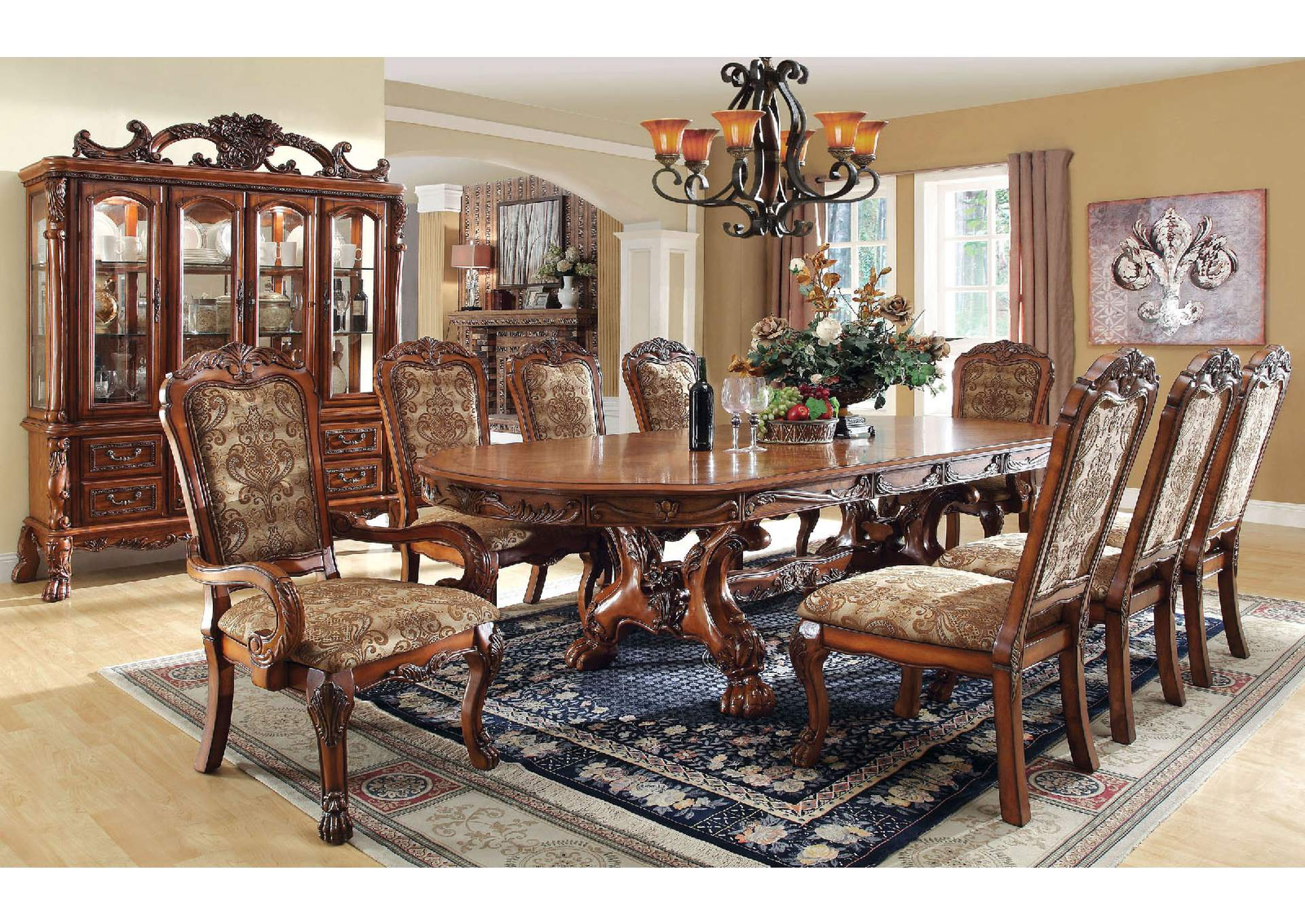 Medieve Antique Oak Formal Dining Table w/2 15