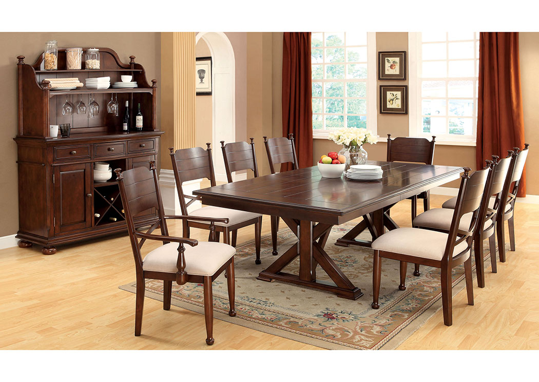 Descanso Brown Cherry Cross Leg Extension Leaf Dining Table W/6 Side Chairs, Furniture