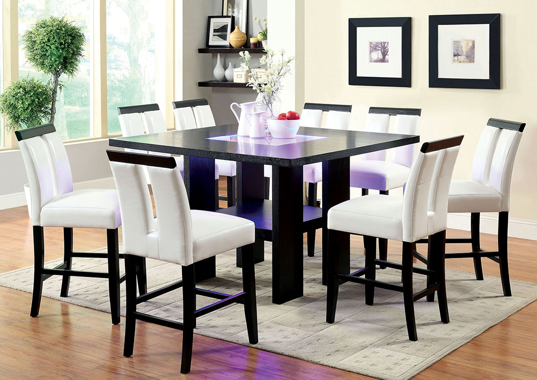 Luminar II Black 8mm Tempered Fog Glass Counter Height Table W/8 Black Counter  Height