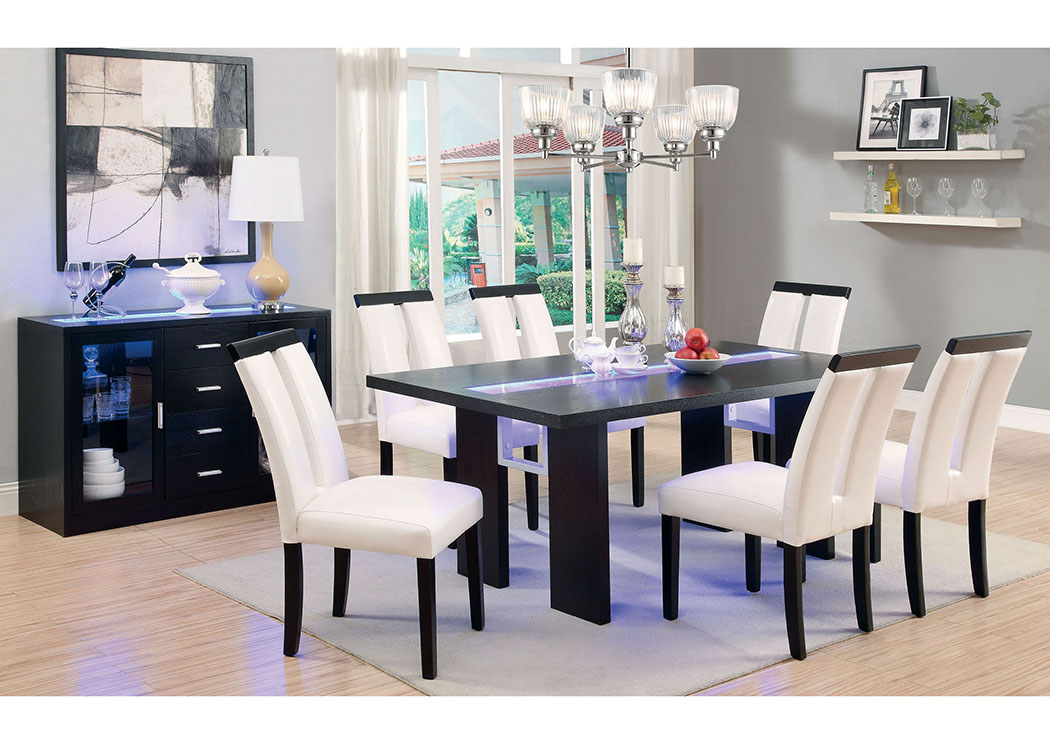 Luminar Espresso Glass Inlay LED Light Dining Table W 4 Side ChairsFurniture