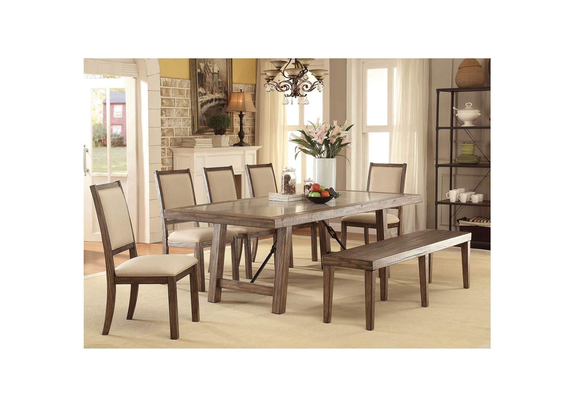 Colette Rustic Oak Dining Table,Furniture of America