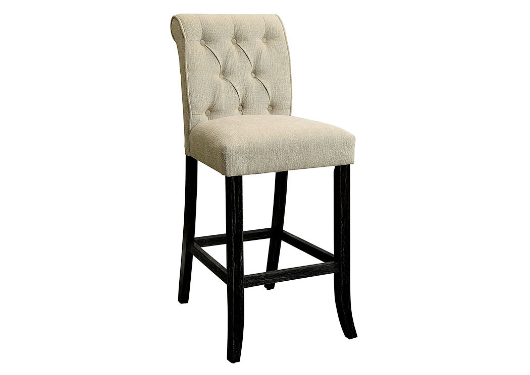 Izzy Beige/Antique Black Counter Height Chair (2/CTN),Furniture of America