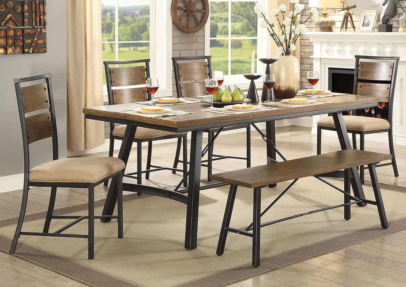 Marybeth Weathered Gray Dining Table,Furniture of America