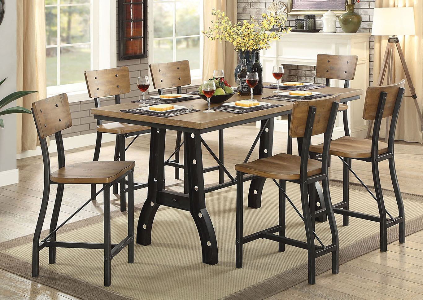 Kirstin Rustic Oak Counter Height Table,Furniture of America