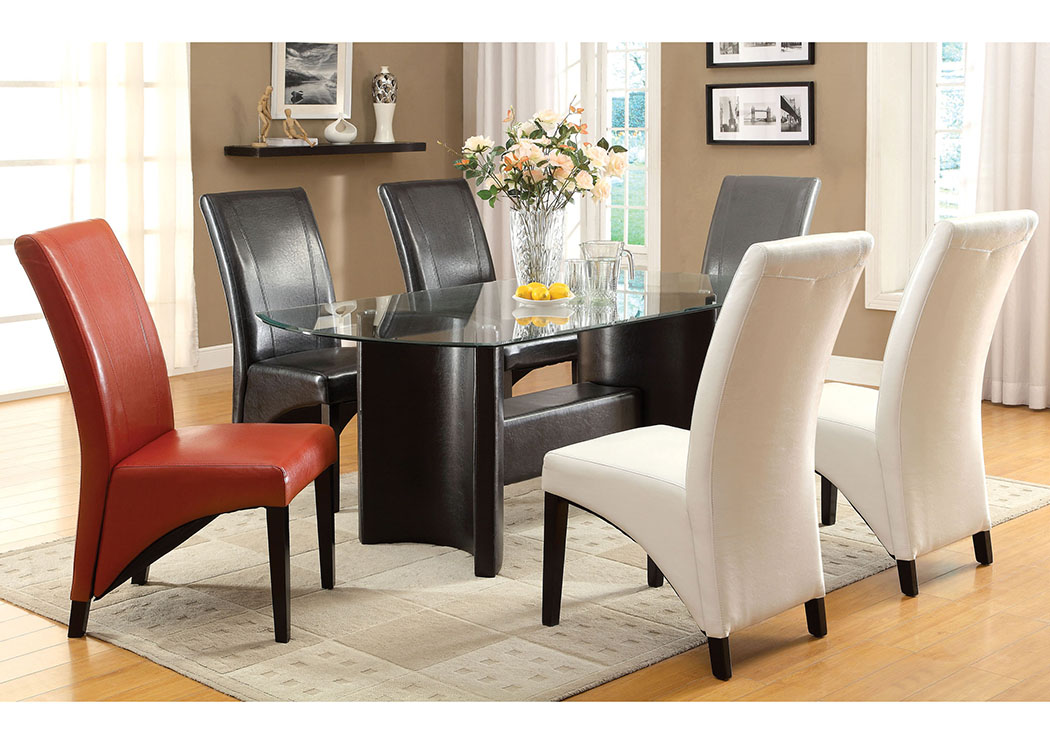Madison Black Glass Top Dining Table w/4 White Side Chairs,Furniture of America