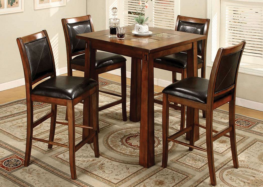 Living Stone IV Tobacco Oak Square Bar Table,Furniture of America