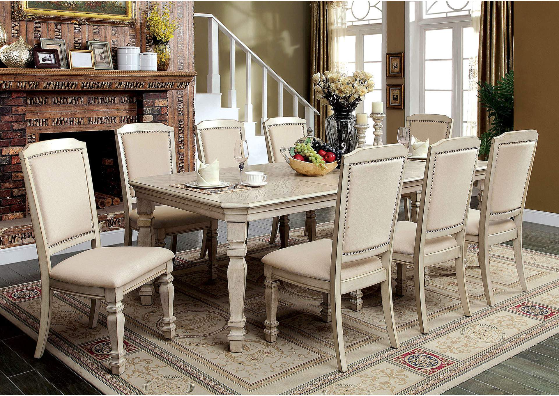 Holcroft Antique White Dining Table W/2 X 18