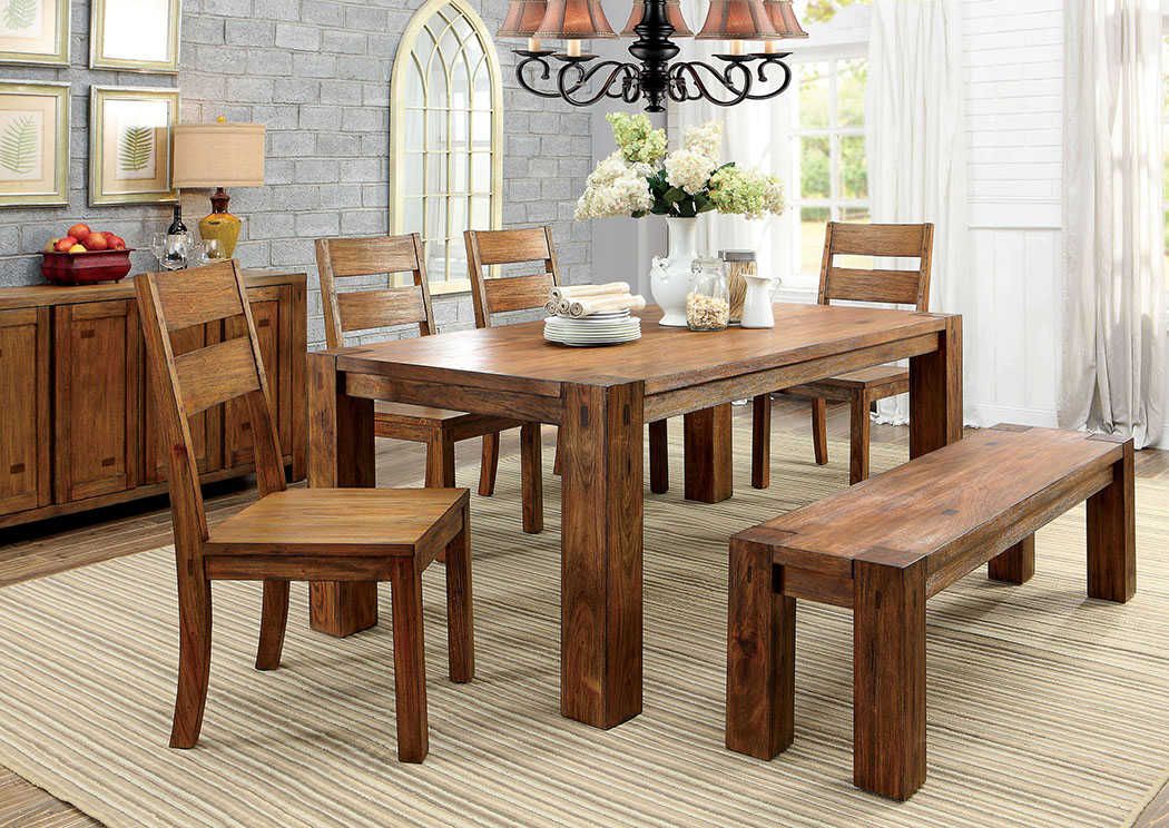 Oak Dining Table W 4 Side Chairs Bench Frontier 72