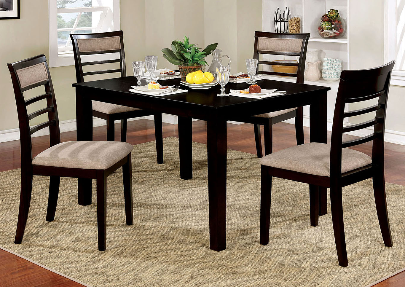 Fafnir Espresso 5 Piece Dining Table SetFurniture Of America