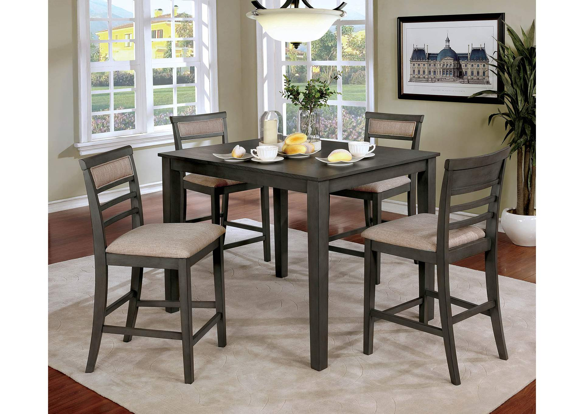 Fafnir Gray 5 Piece Counter Height Table Set,Furniture of America