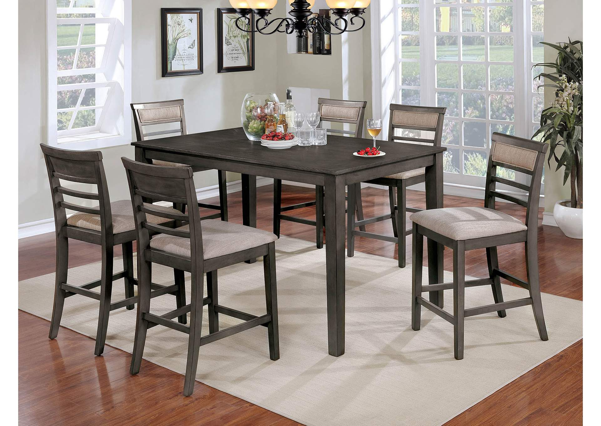 Fafnir Gray 7 Piece Counter Height Table Set,Furniture of America