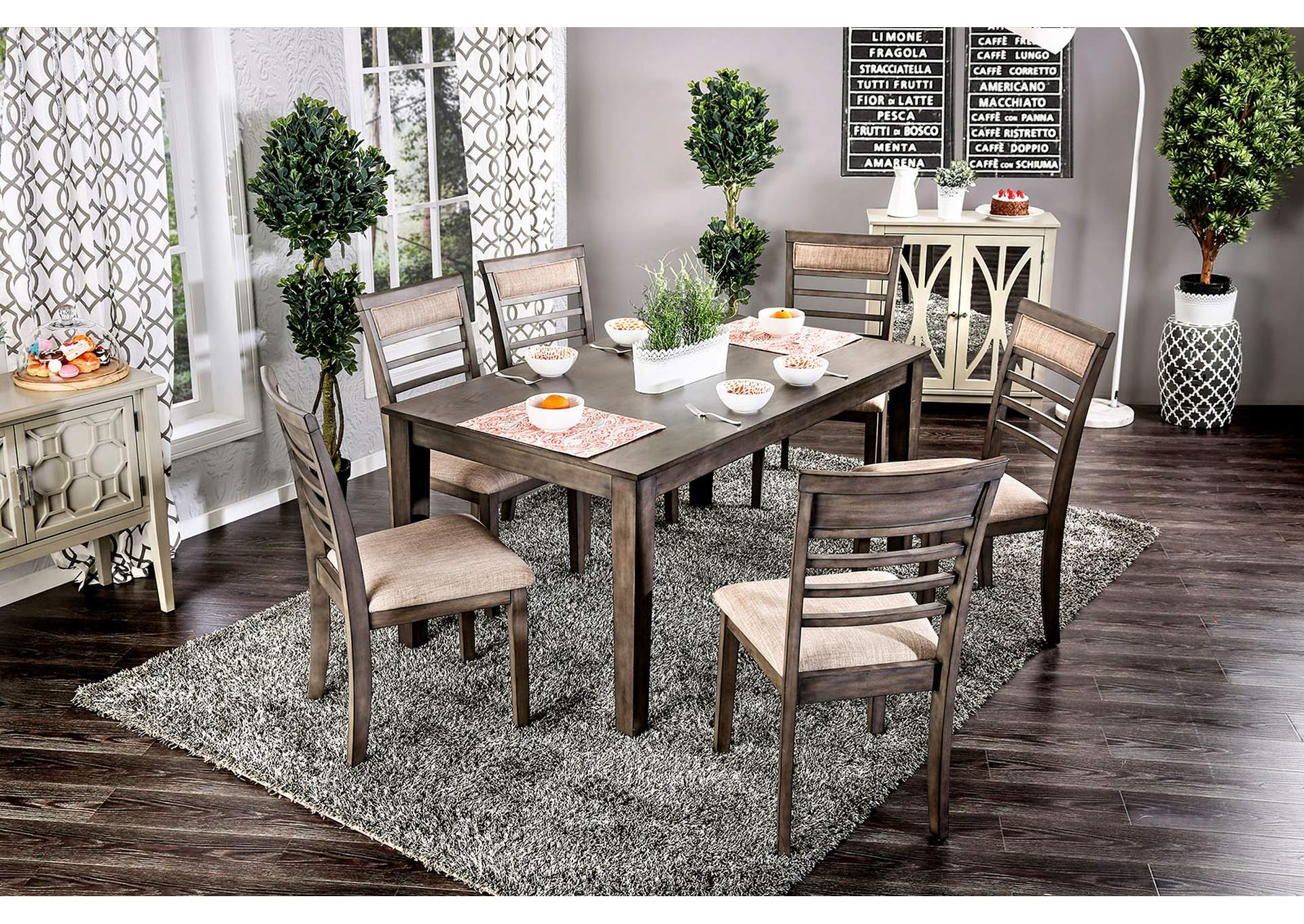 Taylah weathered gray 7 piece dining table setfurniture of america