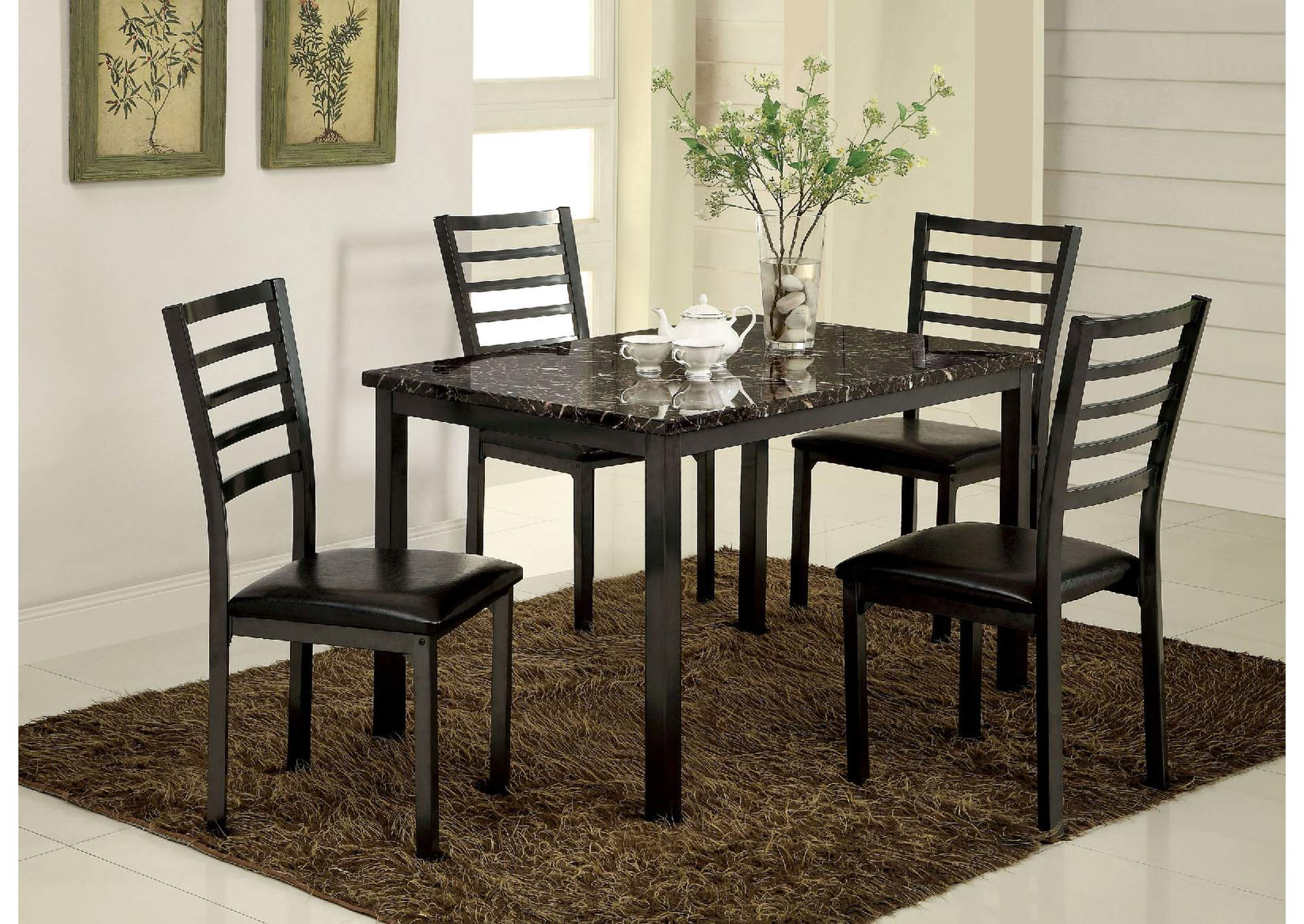 Colman Black Faux Marble Top Dining Table,Furniture of America