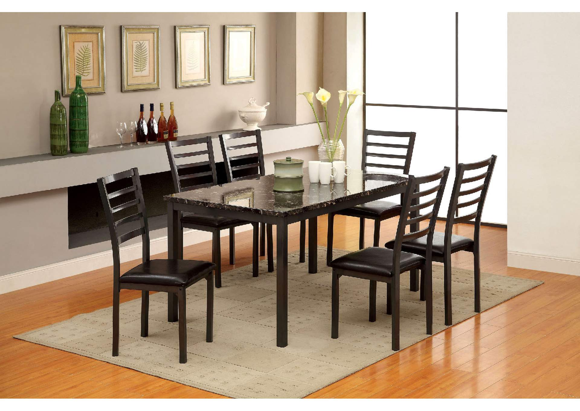 Colman Black Faux Marble Top Dining Table w/4 Side Chairs,Furniture of America