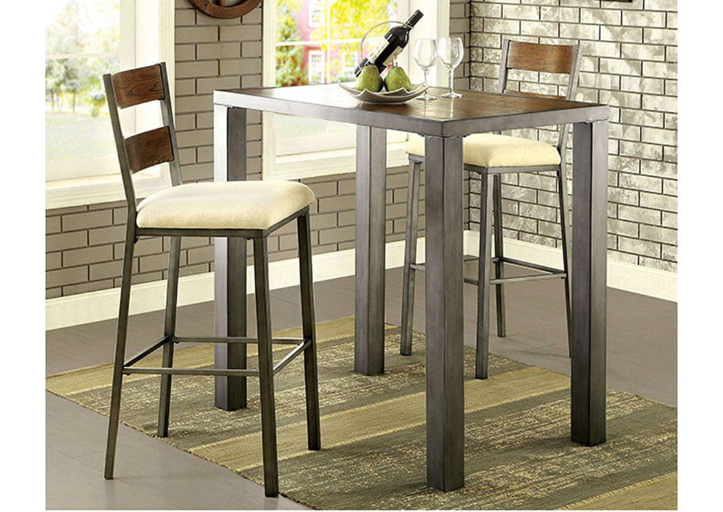 Jazlyn II Weathered Oak Bar Table w/2 Bar Height ChairsFurniture of America & Furniture Fashions Jazlyn II Weathered Oak Bar Table w/2 Bar Height ...