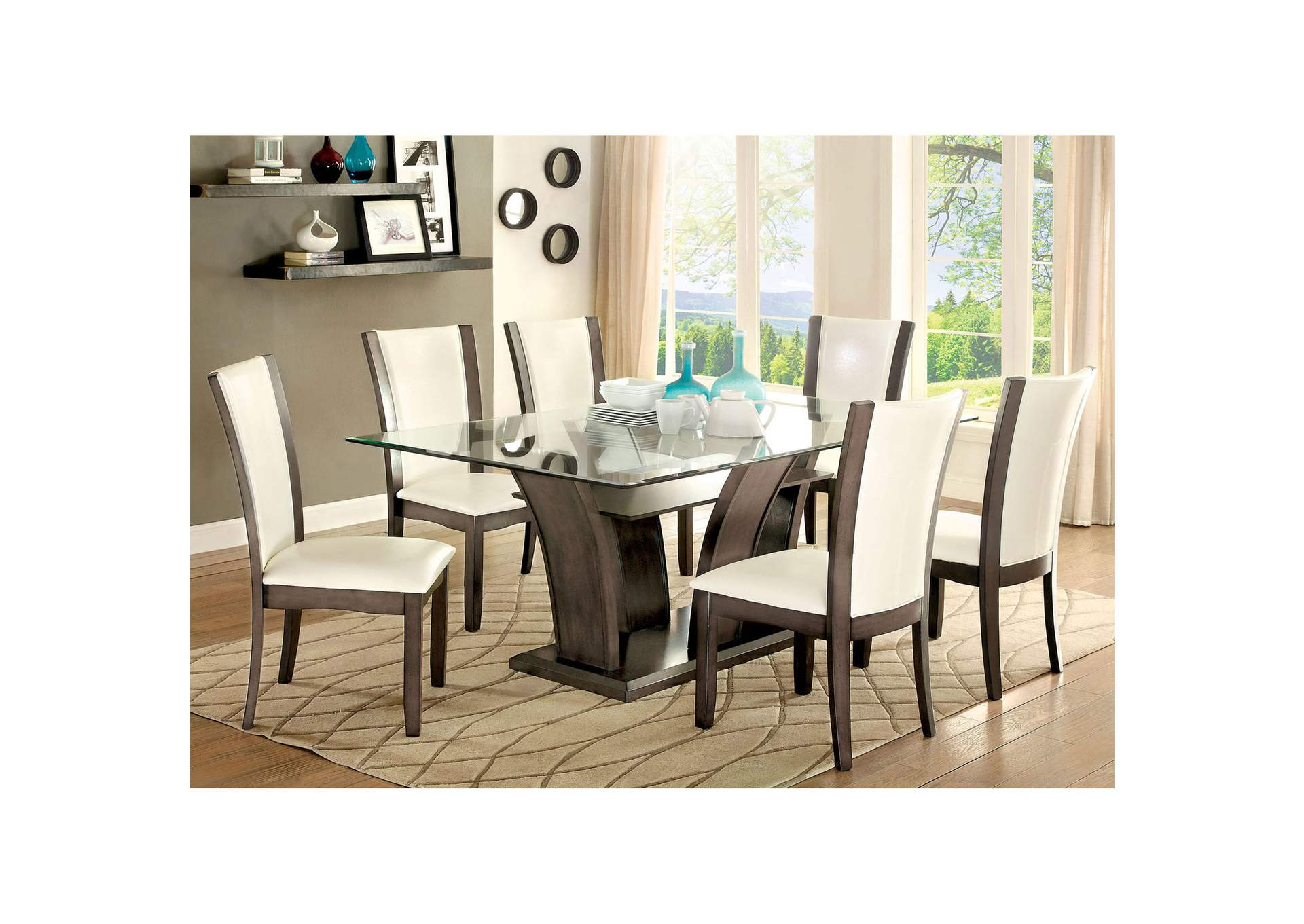Fashion Home Furniture TX Manhattan Gray GlassTop Dining Table W - Glass top dining table seats 6
