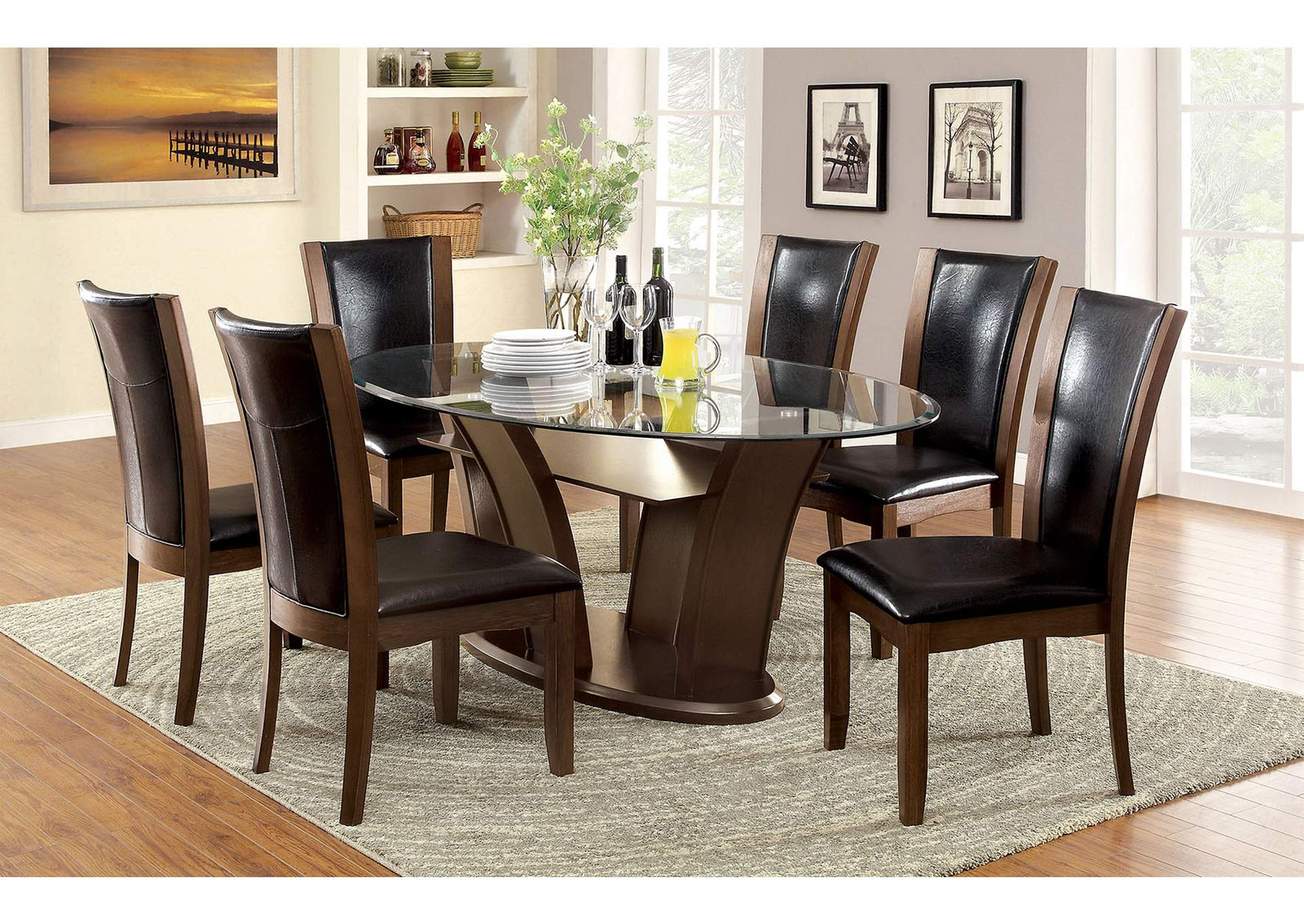 69de6f2bbaf6f2 Manhattan l Oval Glass Top Dining Table w/4 Side Chairs,Furniture of America