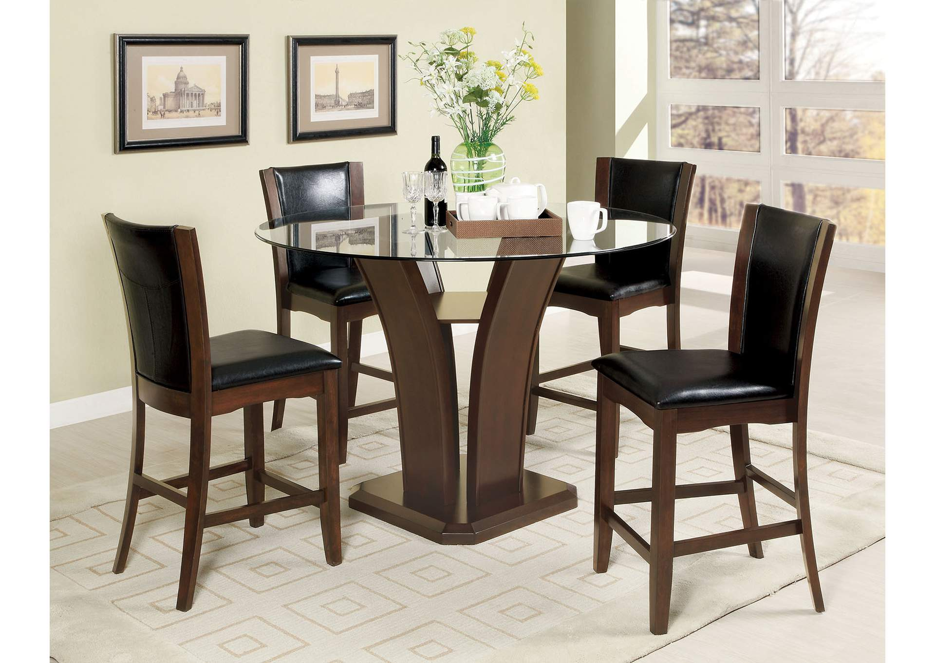 glass top counter height table and chairs espresso manhattan lll round glass top counter height table w2 chairs furniture brothers fine furniture