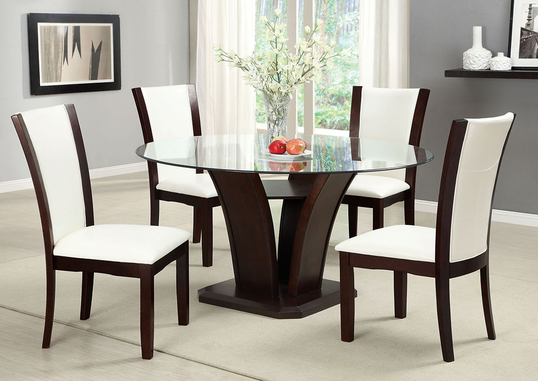 f6c53d1727d Irving Blvd Furniture Manhattan l Round Glass Top Dining Table w 4 ...