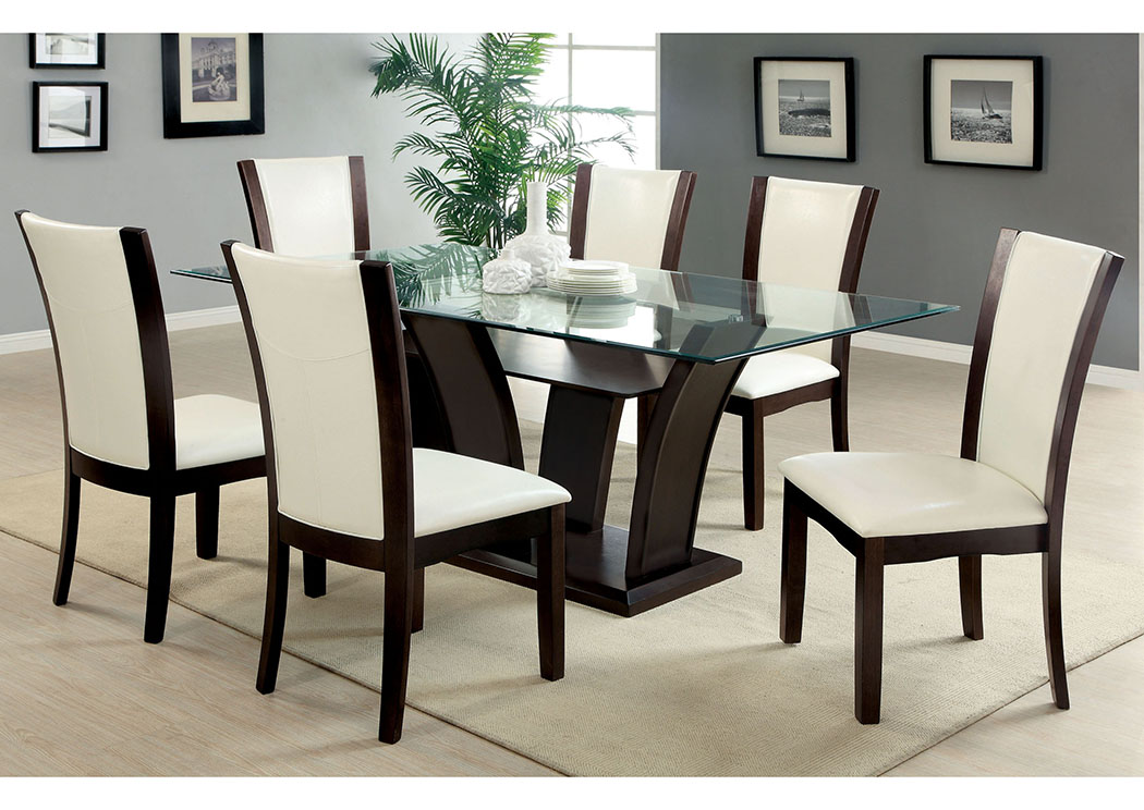 glass dining room furniture | 255051 Manhattan l Rectangle Glass Top Dining Table w/4 ...