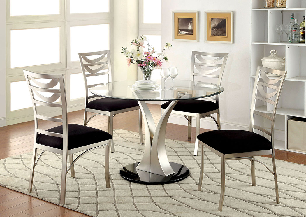 Valo Silver/Black Stainless Steel Dining Table w/Glass Top,Furniture of America