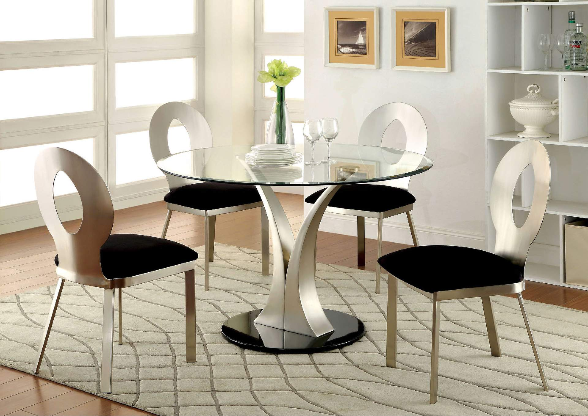 Valo Silver/Black Padded Side Chair (Set of 2),Furniture of America
