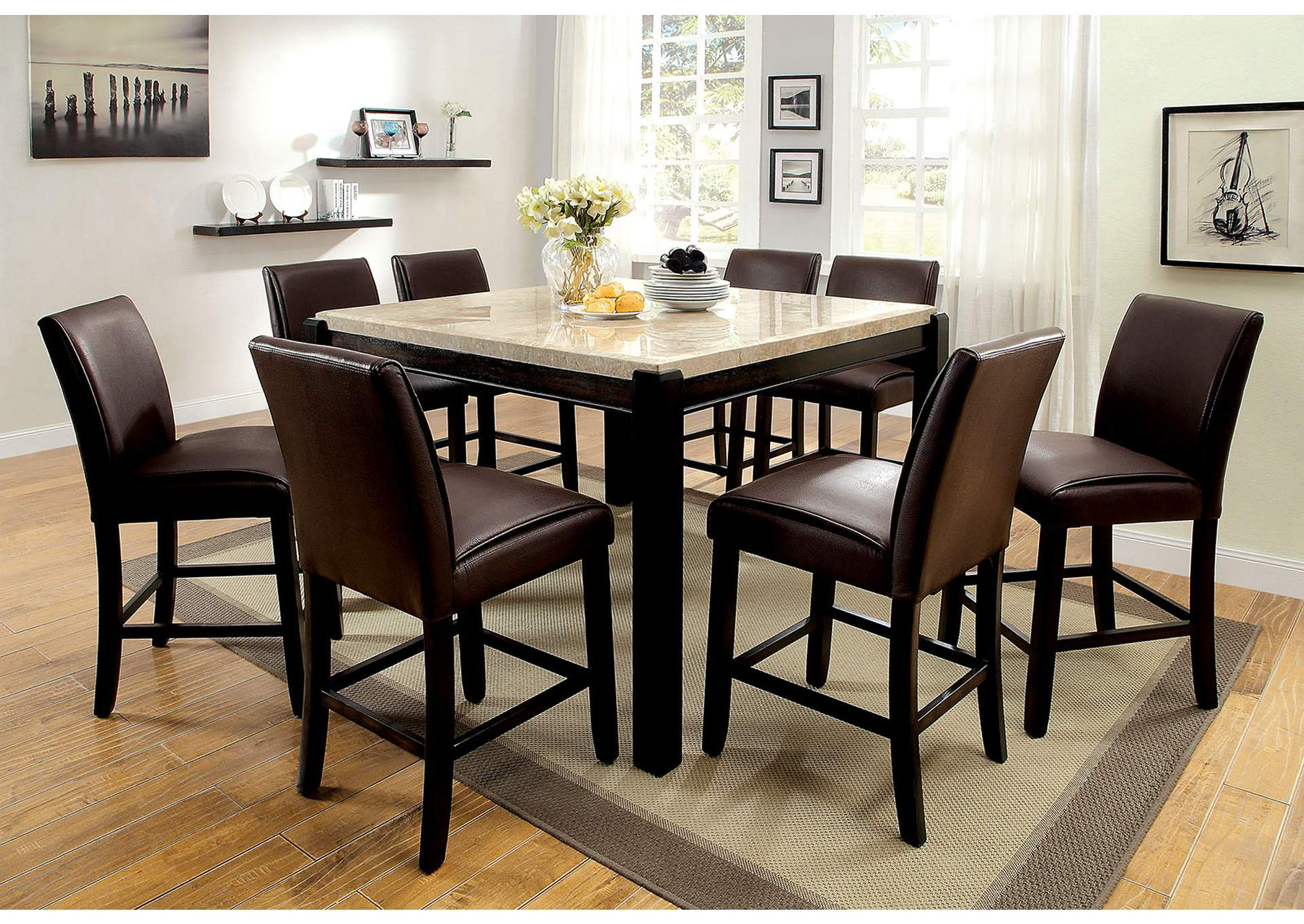 Gladstone II Dark Walnut Marble Top Counter Height Table W/6 Counter Height  Chairs,