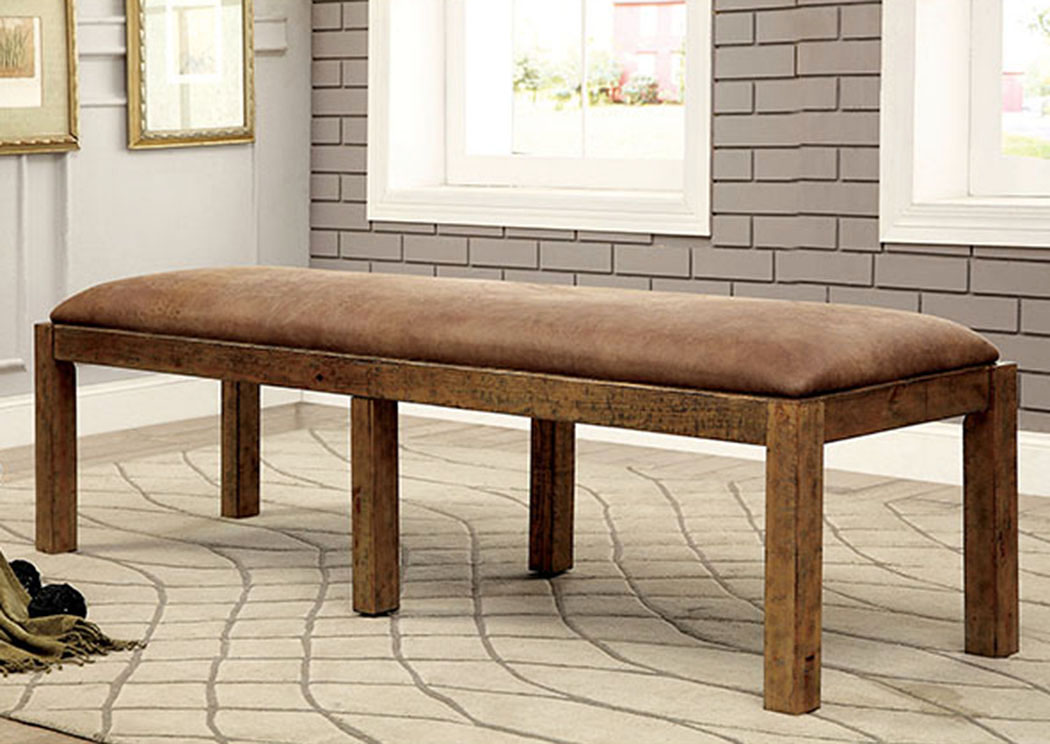Gianna Rustic Pine Bench,Furniture of America