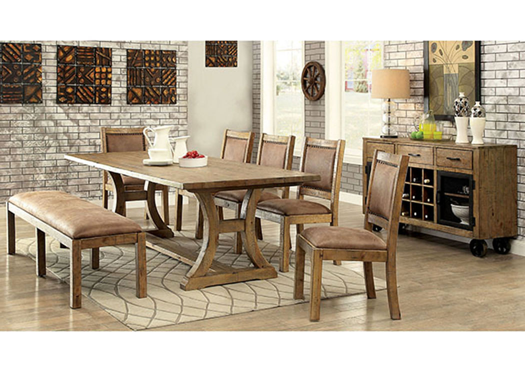 Gianna Rustic Pine Dining Table,Furniture of America