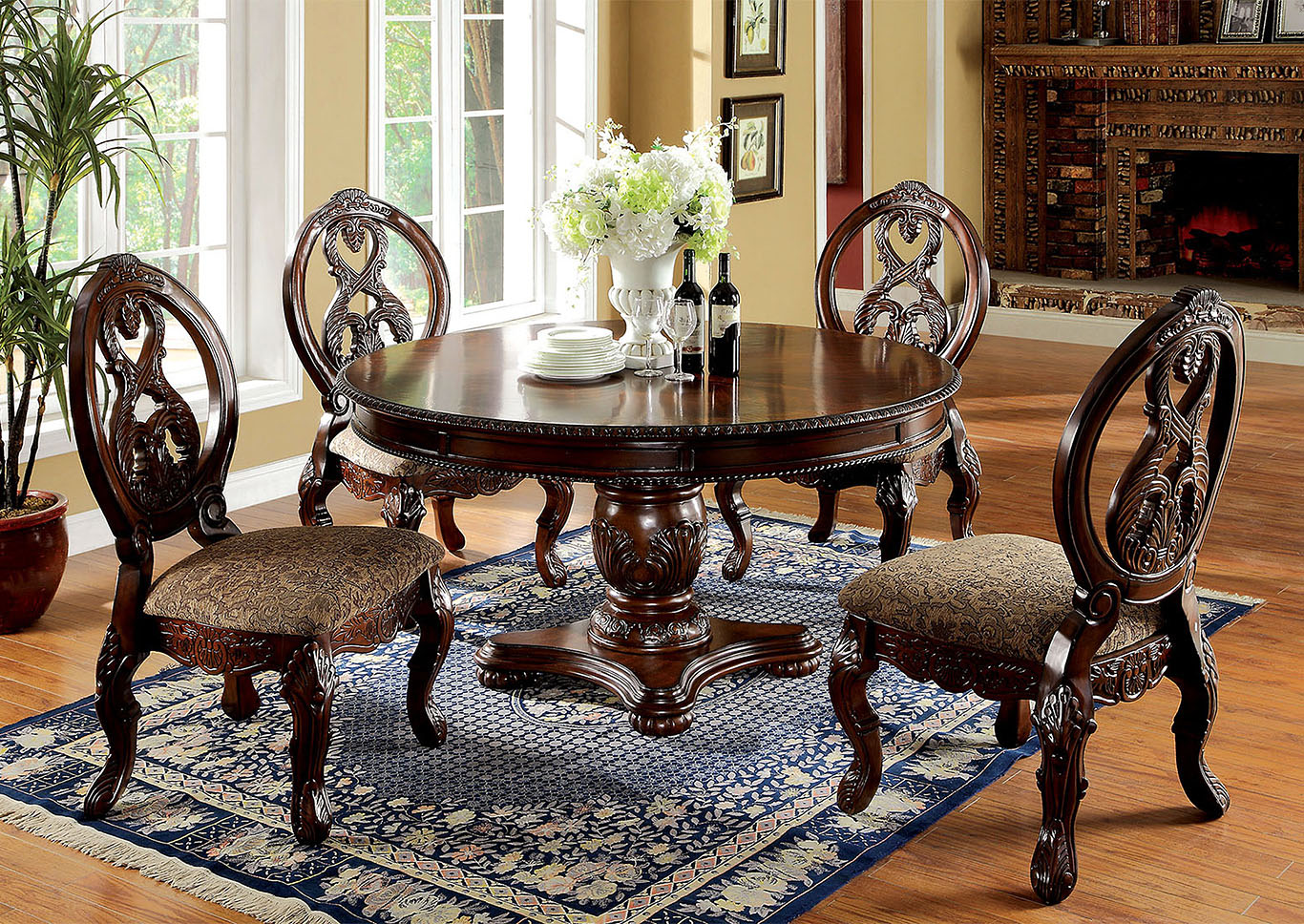 Tuscany I Antique Cherry Formal Dining Table,Furniture of America