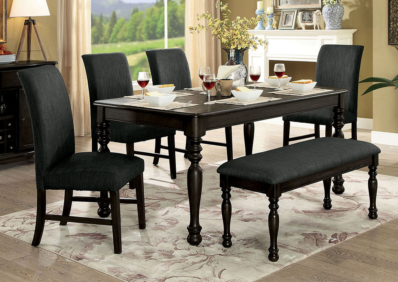 Siobhan II Dark Gray Dining Table,Furniture Of America