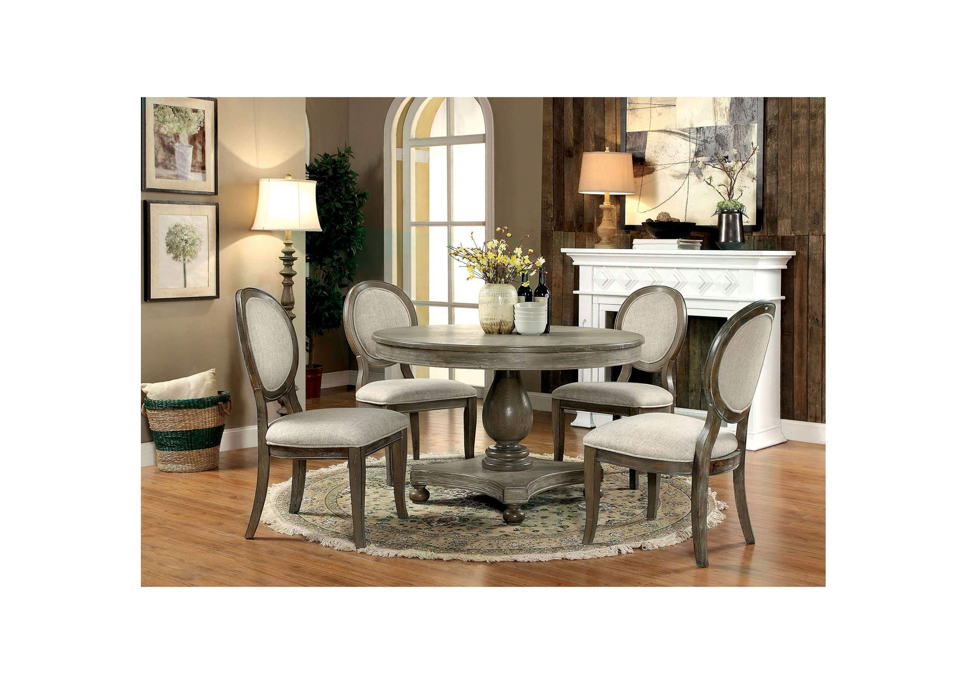 Kathryn Rustic Oak Round Dining Table w/4 Side Chairs,Furniture of America