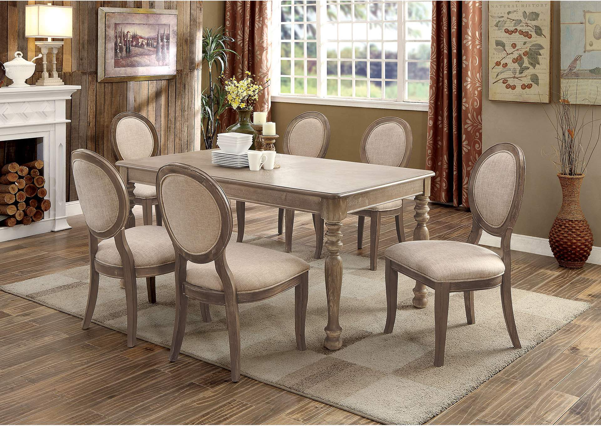Siobhan Rustic Oak Rectangular Dining Table,Furniture of America