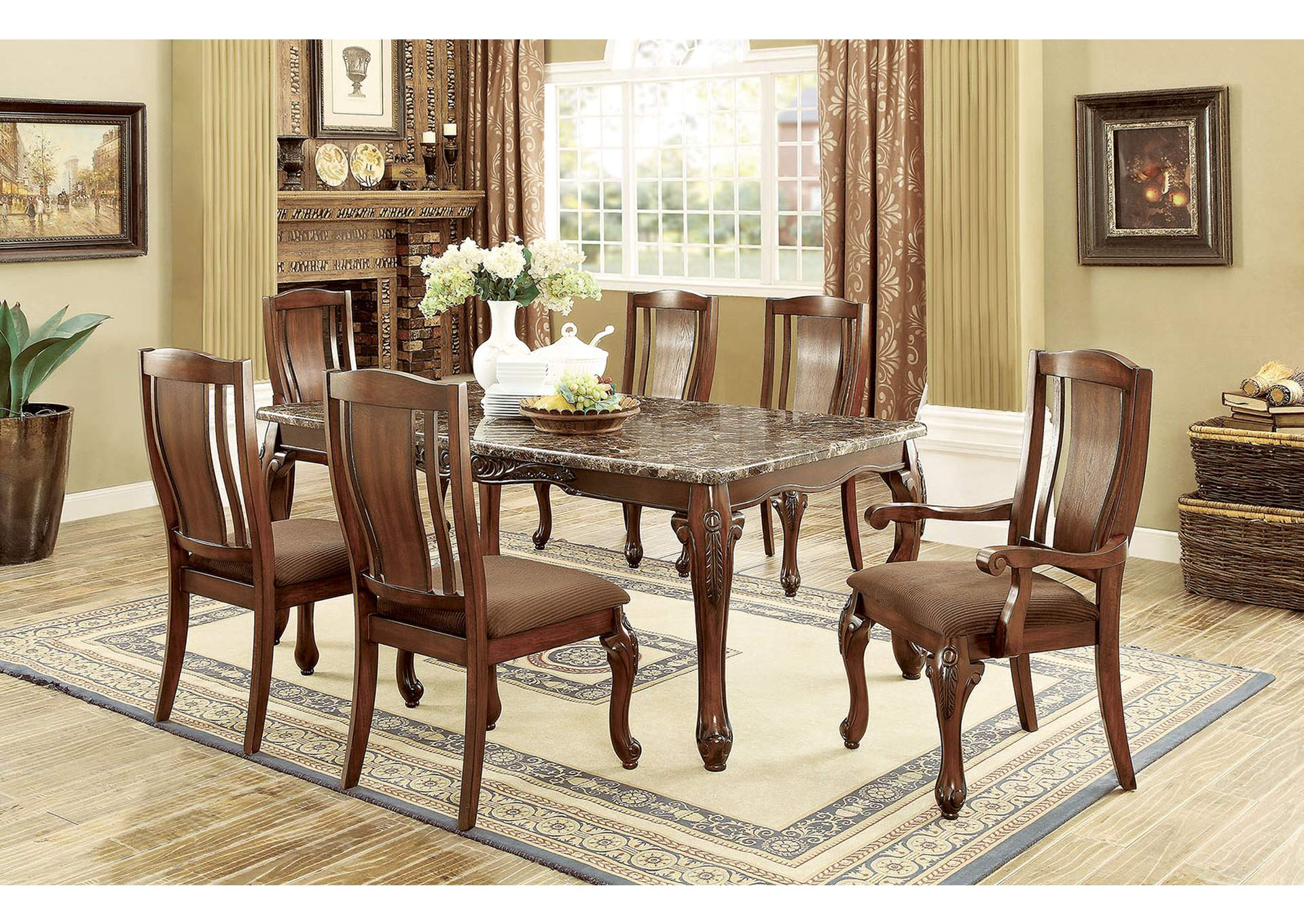 Johannesburg I Brown Cherry Dining Table W Faux Marble TopFurniture Of America