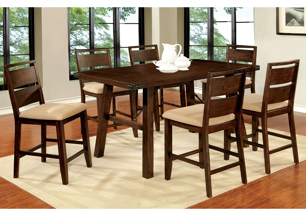 Dwayne II Dark Oak Counter Height Table W/6 Counter Height Chairs,Furniture  Of