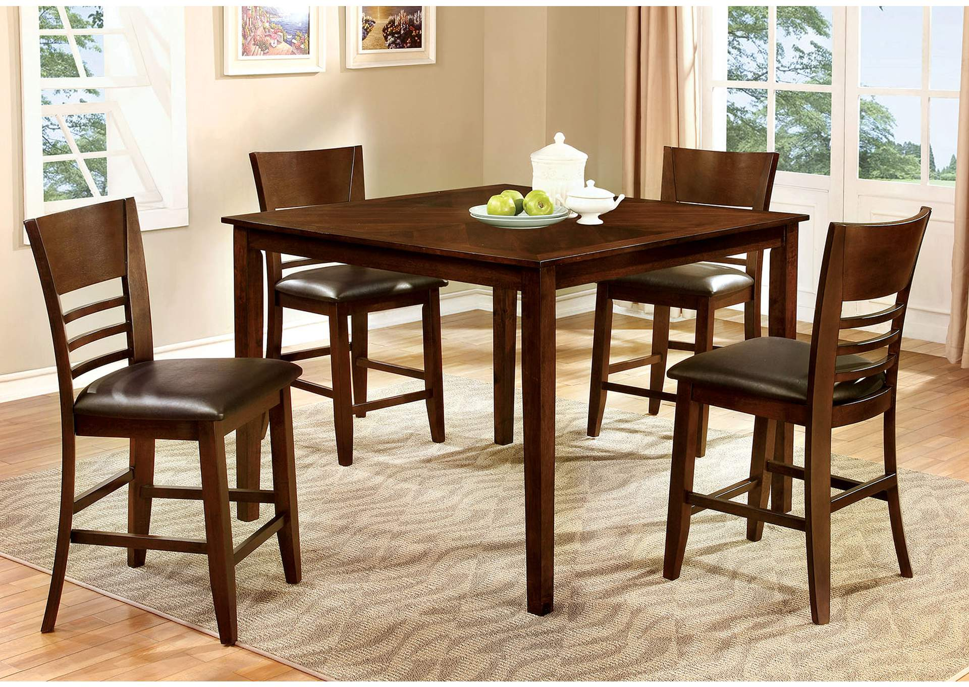 Hillsview II Brown Cherry 5 PC. Counter Height Table Set,Furniture of America