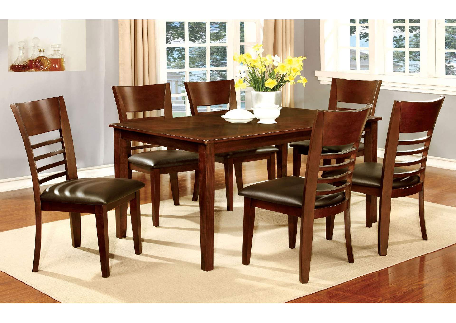 "Hillsview I Brown Cherry 60"" Dining Table w/4 Side Chairs,Furniture of America"