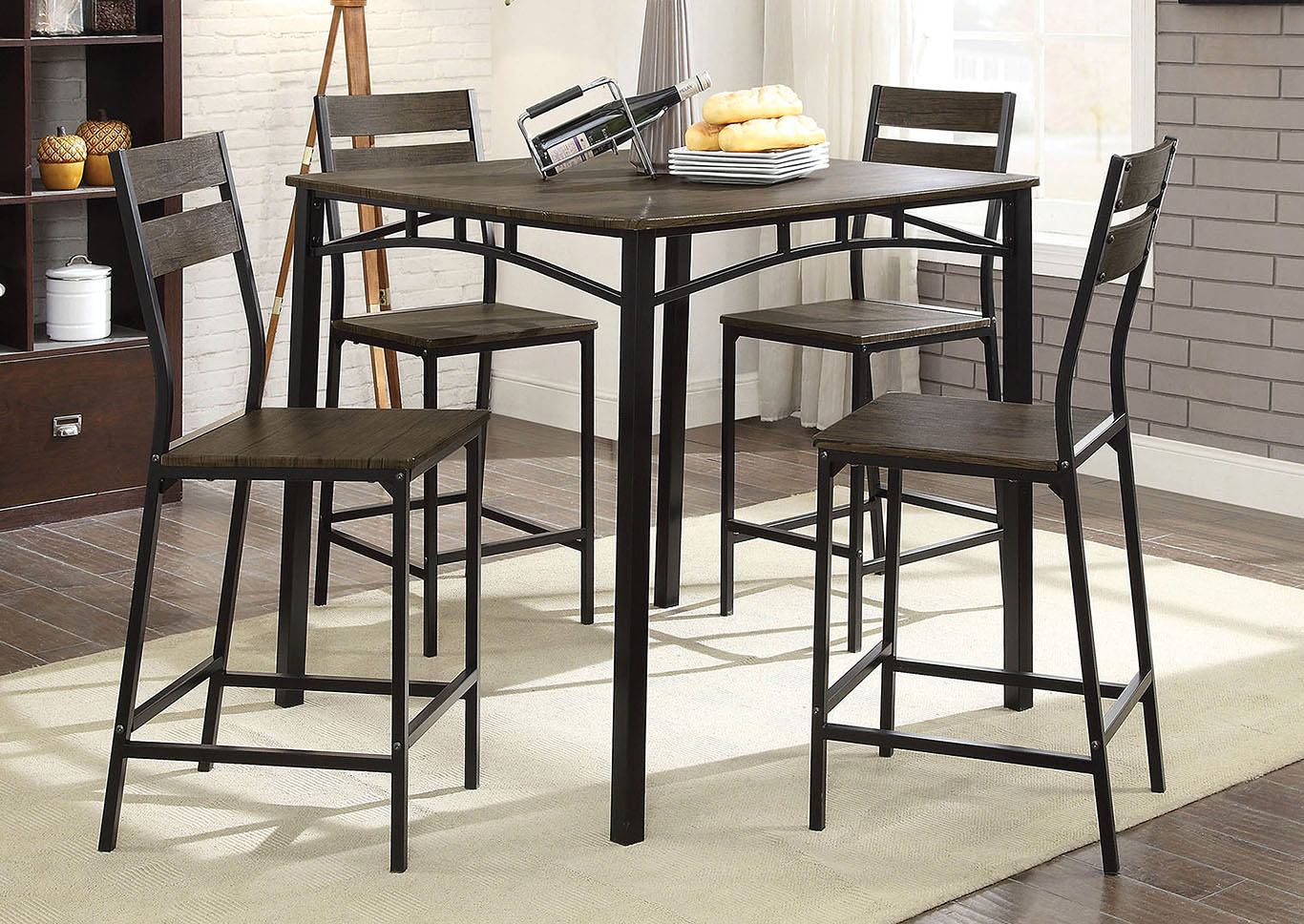 Westport Antique Brown/Black 5 PC. Counter Height Table Set,Furniture of America