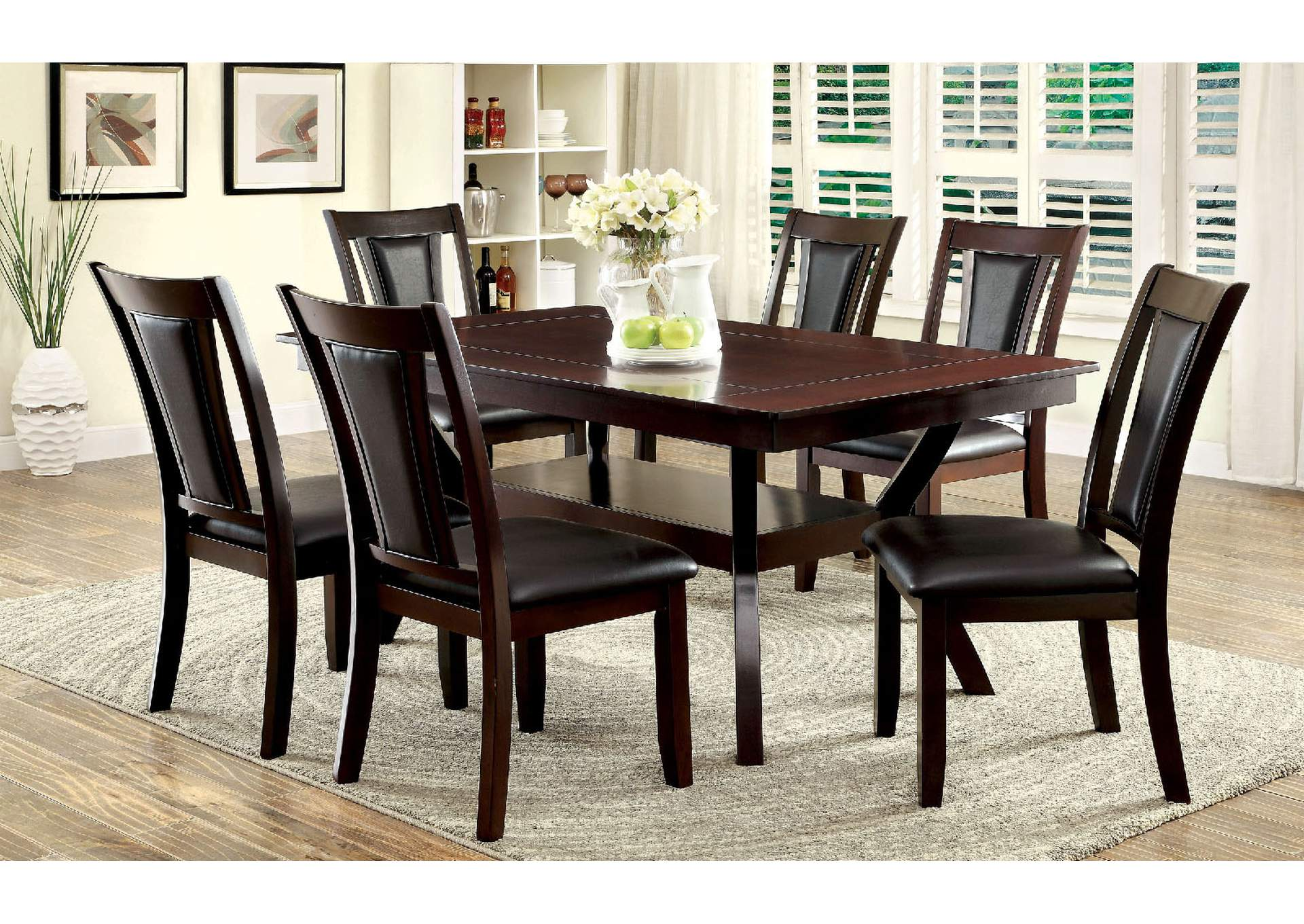 Marble Dining Table And 6 Chairs: Dinettes Plus Brent Faux Marble Insert Top Dining Table W