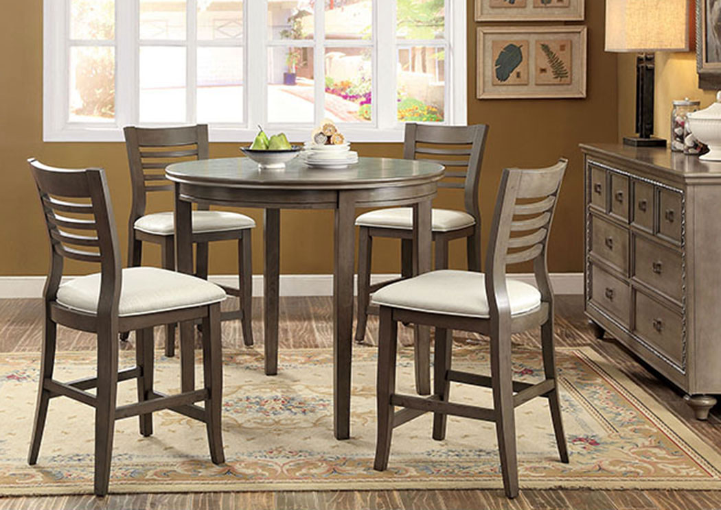 Dwight II Gray Round Counter Height Table W/4 Counter Height Chairs, Furniture Of