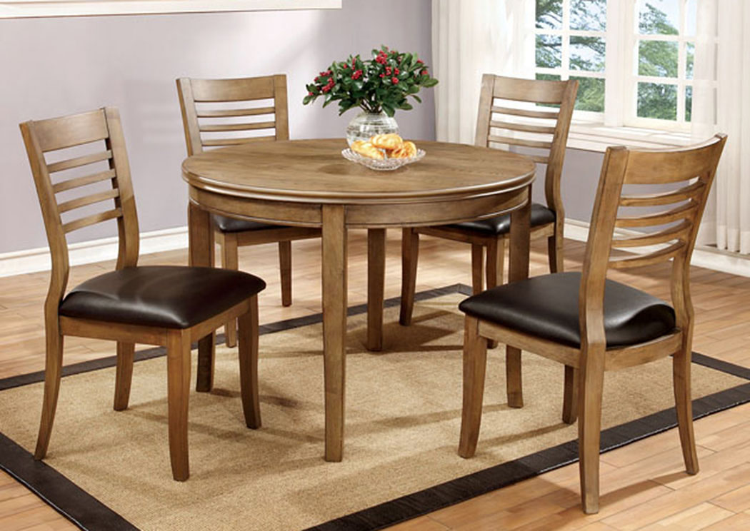 "Dwight 48"" Natural Tone Round Dining Table,Furniture of America"