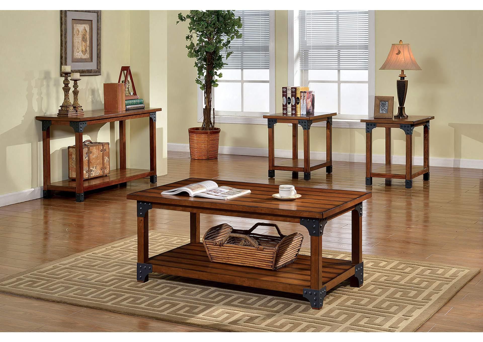Bozeman Antique Oak Finish 3 Piece Table Set (Coffee U0026 2 End),Furniture
