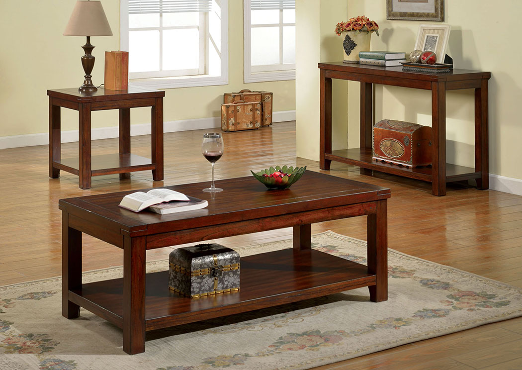 Estell Dark Cherry Coffee Table W/Open Shelf,Furniture Of America