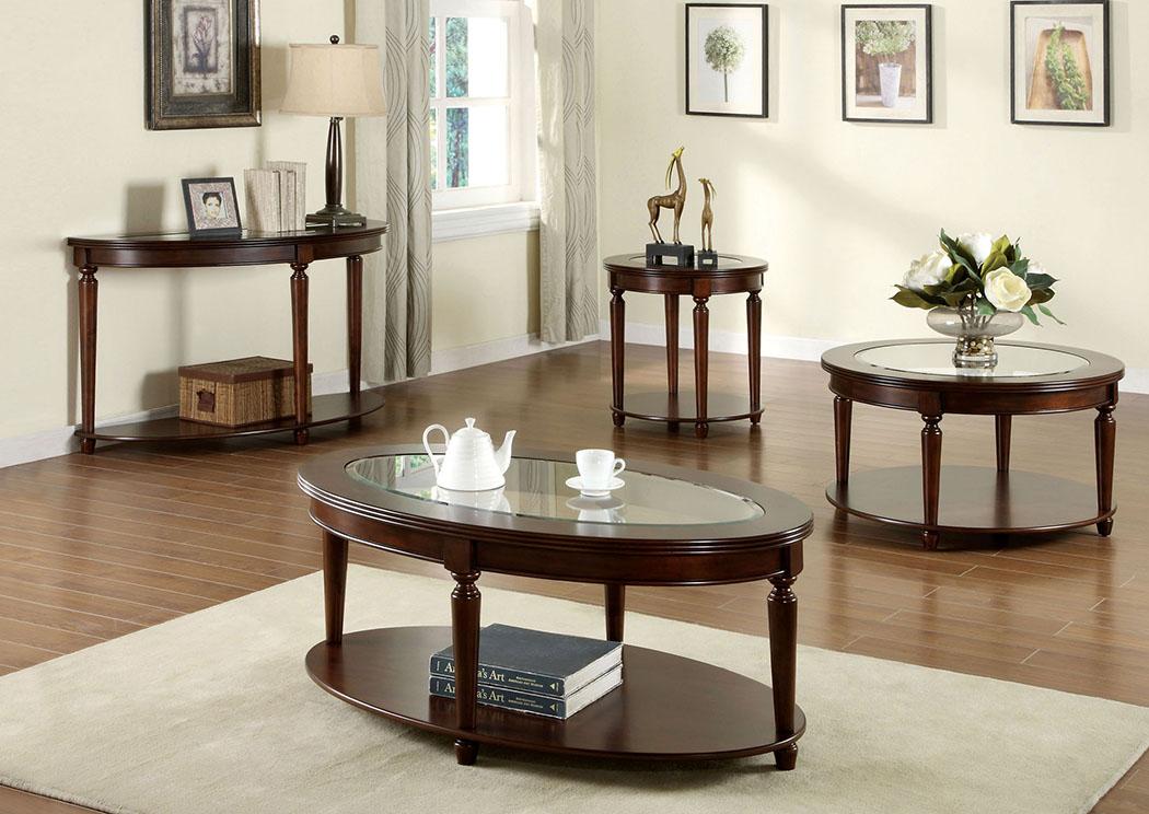 Granvia Dark Cherry End Table W/Beveled Glass Top U0026 Open Shelf,Furniture Of