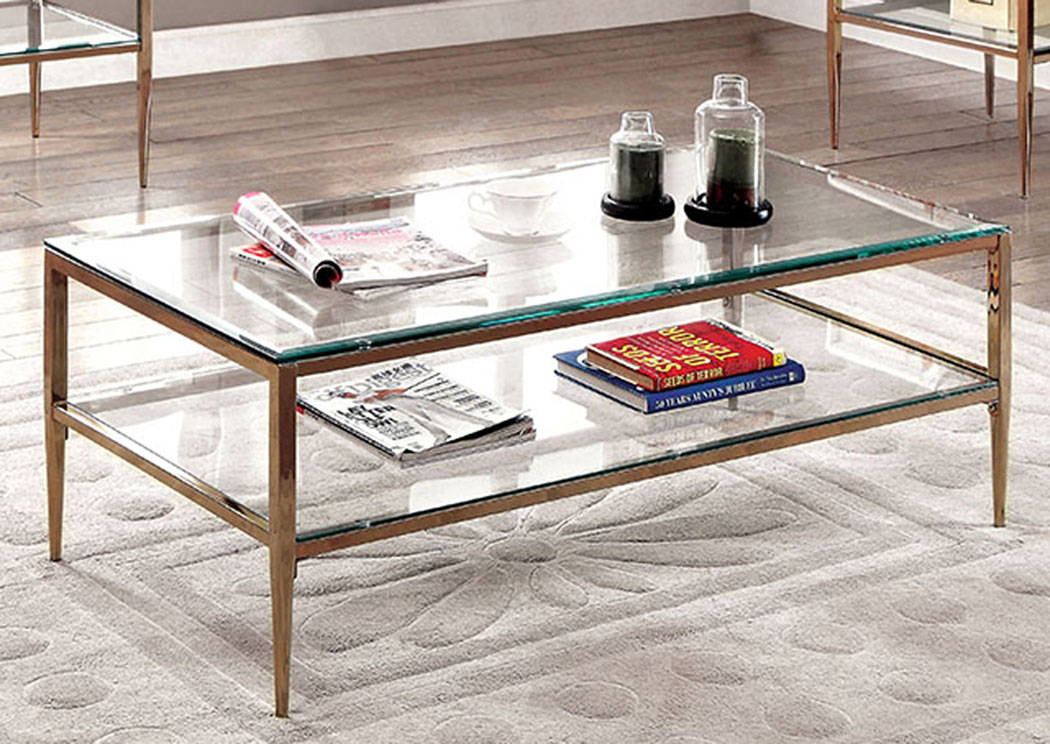 Foothills Family Furniture Tanika Gold Glass Top Coffee Table W