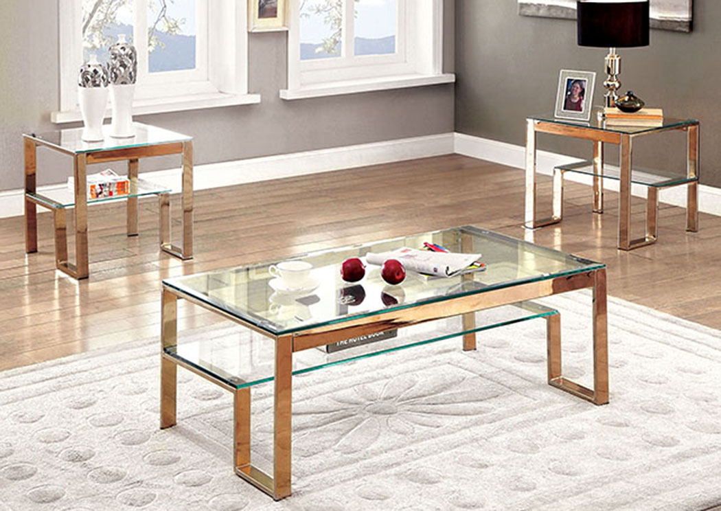 Nikita Gold Coffee Table W/Glass Top,Furniture Of America
