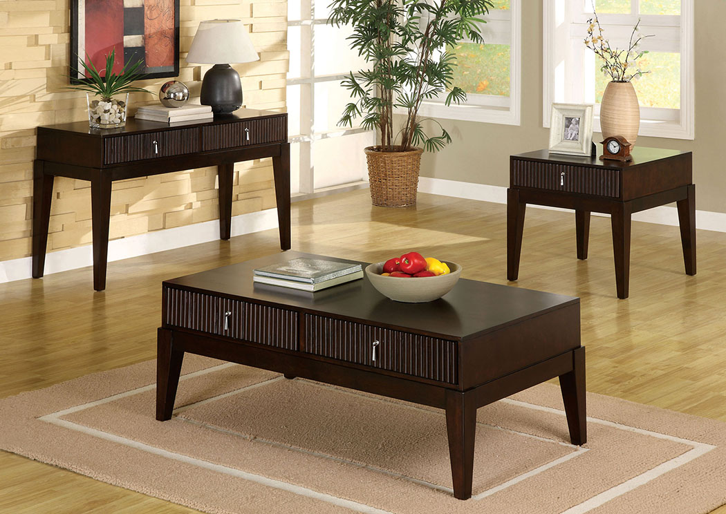 Torino Dark Walnut End Table w/Storage,Furniture of America