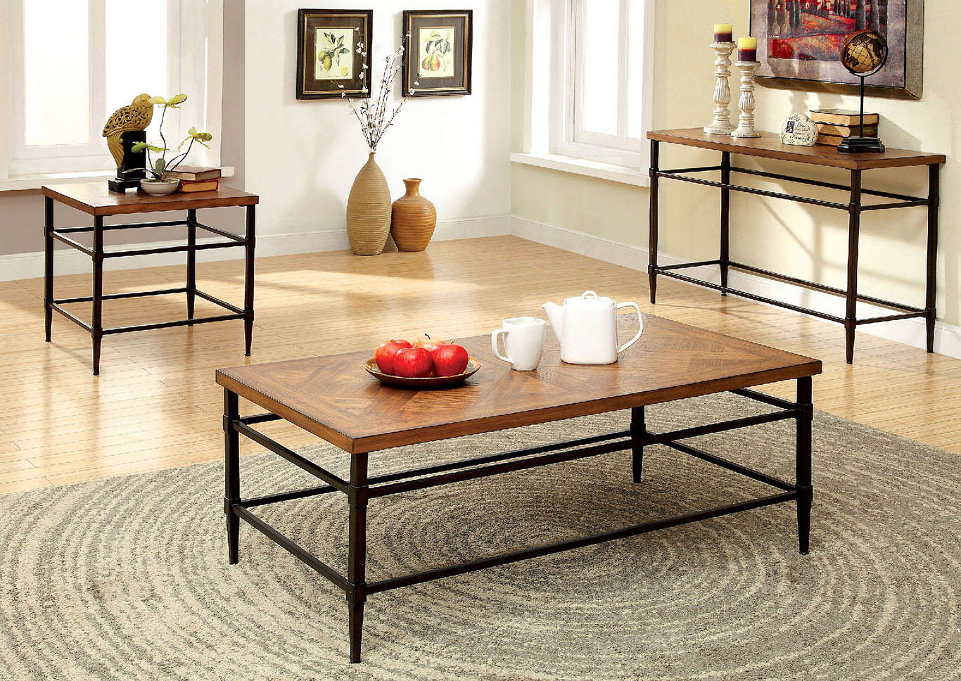 Awesome Best Deal Ca Herrick Light Oak End Table W Metal Accents Gmtry Best Dining Table And Chair Ideas Images Gmtryco
